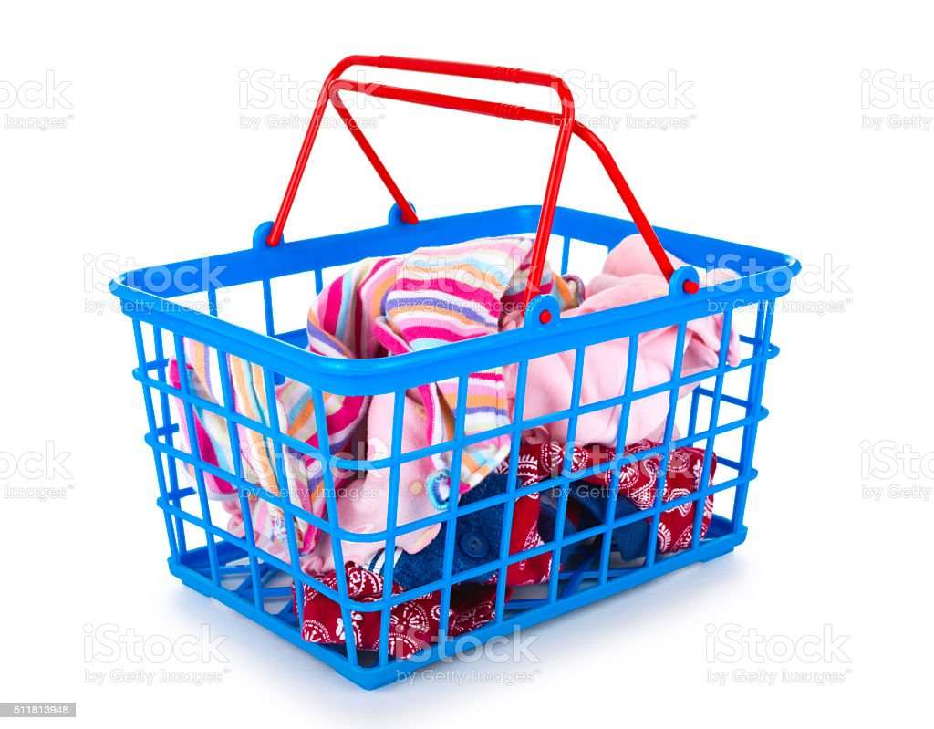 Plastic Blue Basket With Baby Clothes Isolated Royalty Free Stock Photo