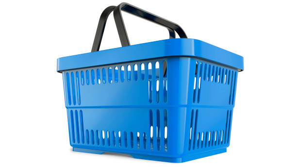 Plastic blue shopping basket. 3D model. 3D render, isolated on white background. Plastic blue shopping basket. 3D model. 3D render, isolated on white background. shopping basket stock pictures, royalty-free photos & images