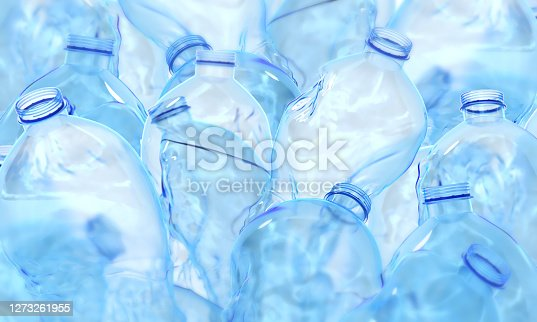 plastic, bottle, dirty, blue, 3d rendering, ecology