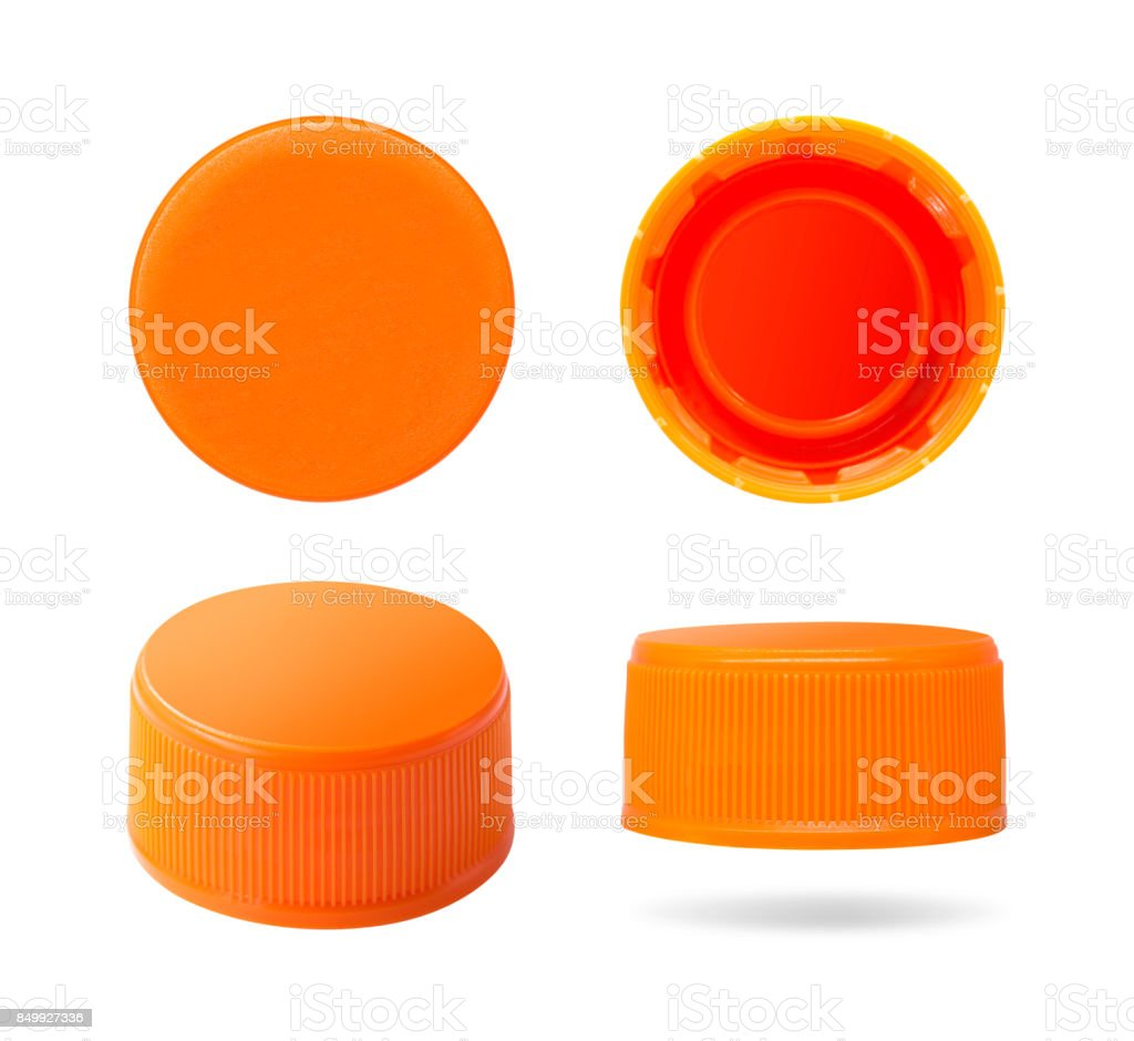 Plastic bottle cap isolated on white background. Group of beverage lid for your design. Clipping paths object. stock photo