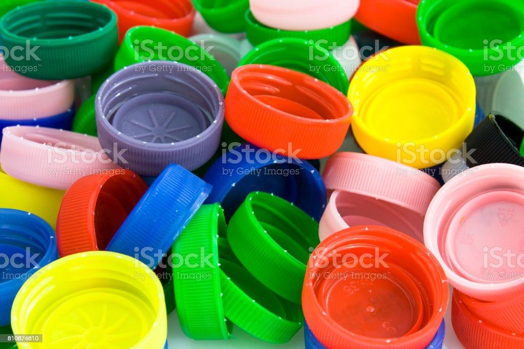 Plastic bottle caps background stock photo