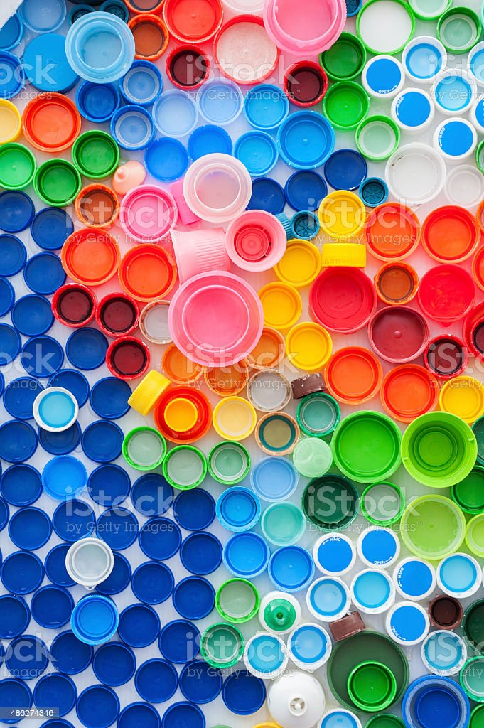 Plastic Bottle Caps stock photo