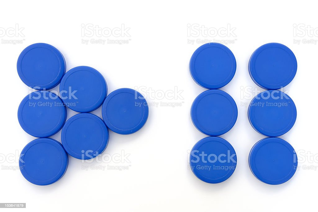 Plastic Bottle Caps, play and pause sign royalty-free stock photo