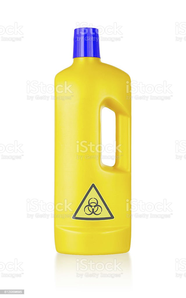 Plastic bottle cleaning-detergent, biohazard stock photo