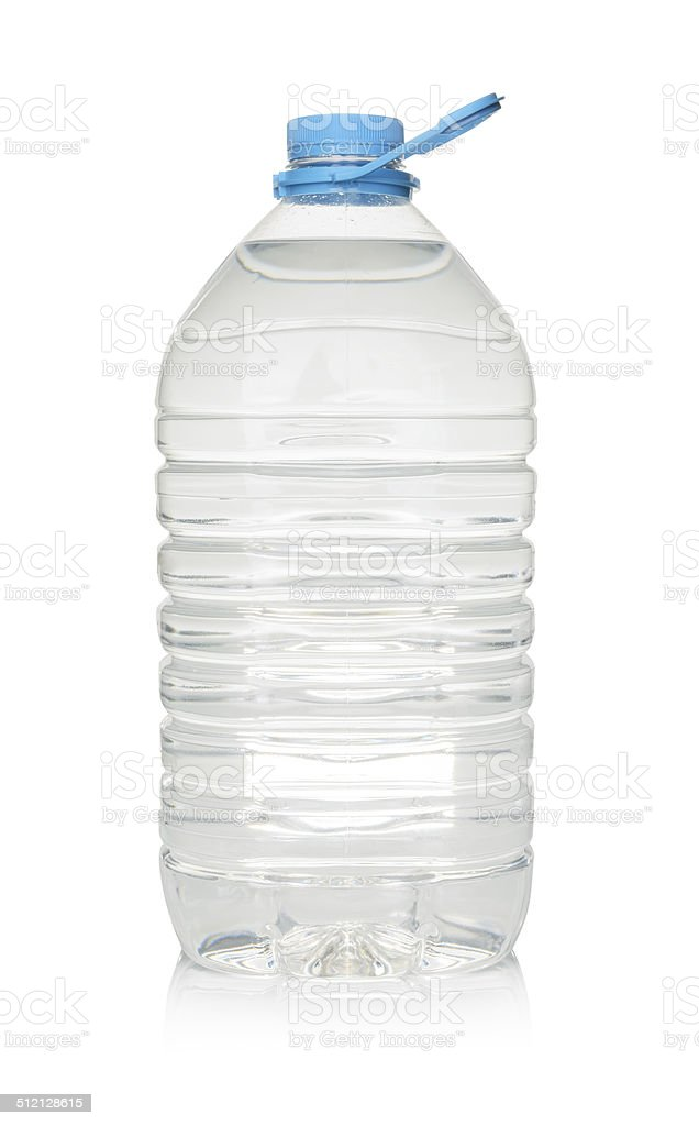 Plastic bottle of drinking water isolated on white stock photo