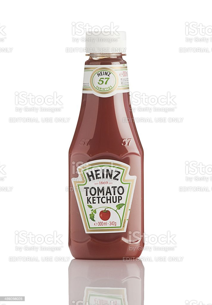 Plastic bottle of Heinz Ketchup sauce. stock photo