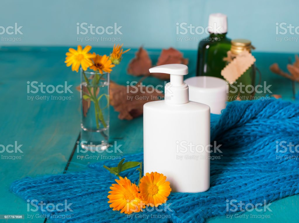 Plastic bottle of intime gel with calendula extract. stock photo