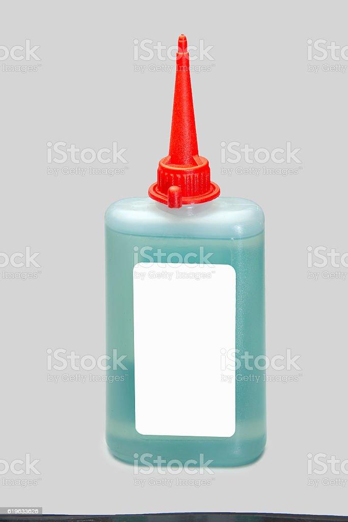 Plastic bottle of lubricating machine oil stock photo