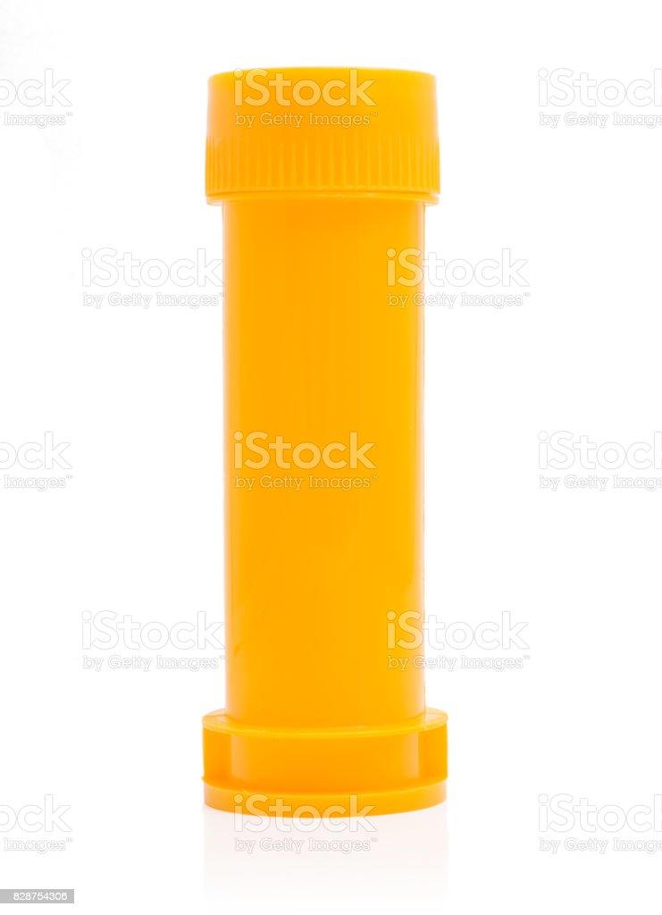 Plastic bottle of soap bubbles isolated on white background stock photo