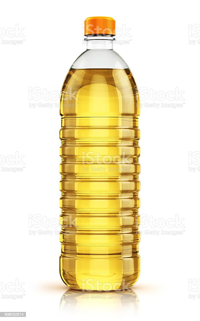 Plastic bottle of vegetable cooking oil stock photo