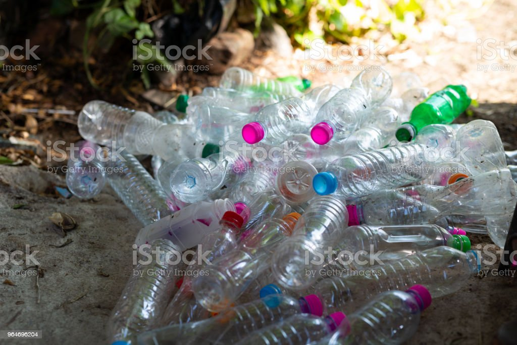 Plastic bottle on the floor for recycling royalty-free stock photo