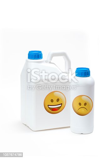 istock Plastic bottle product concept White background with accessories. 1057674786