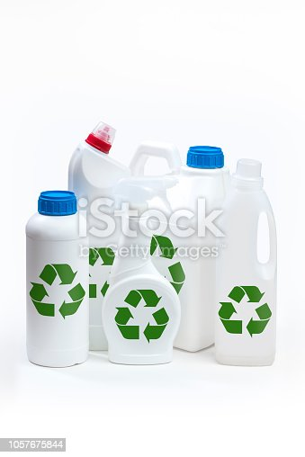 istock Plastic bottle product concept White background with accessories. 1057675844