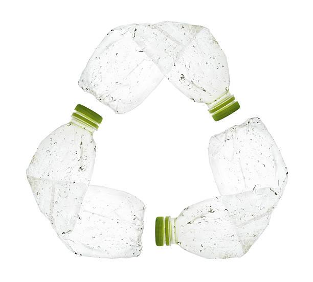 plastic bottle recycle sign - pet bottles bildbanksfoton och bilder