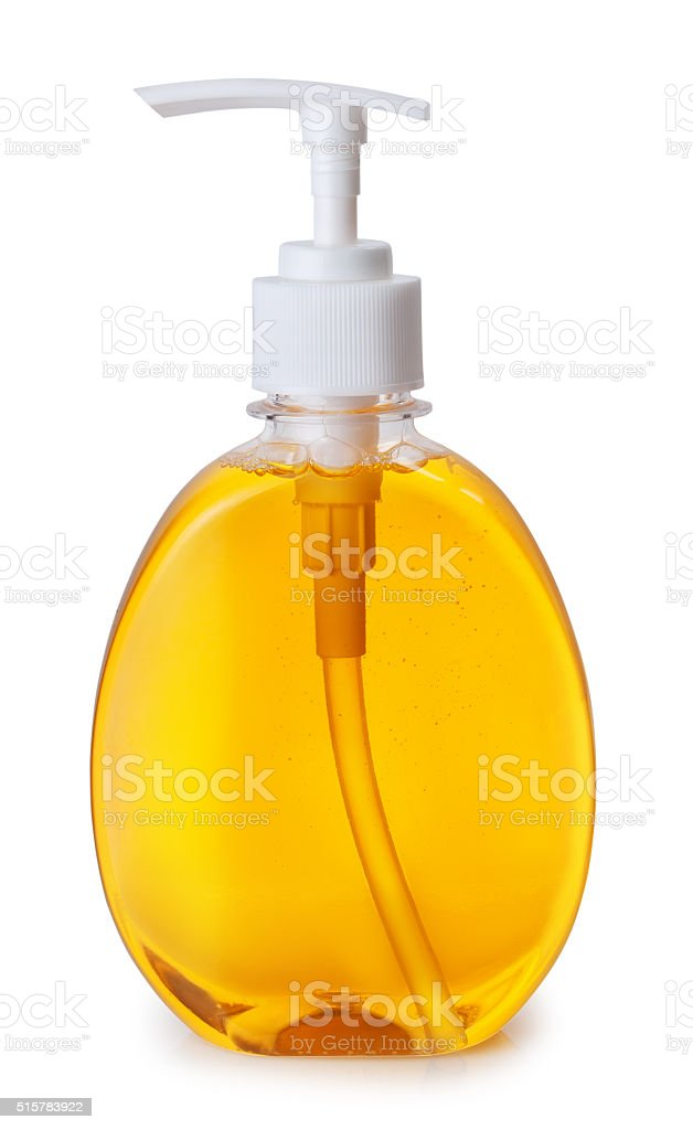 Plastic bottle with liquid soap isolated on white background stock photo