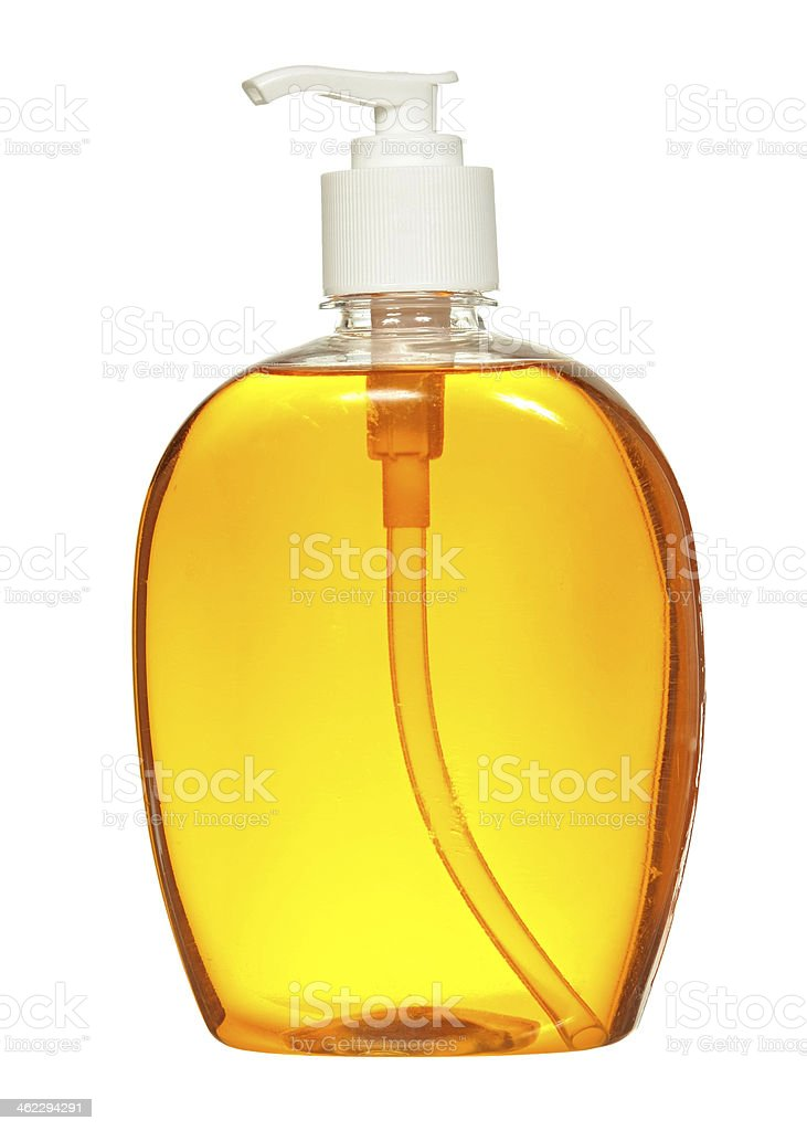 Plastic Bottle with liquid soap on white background. shampoo stock photo