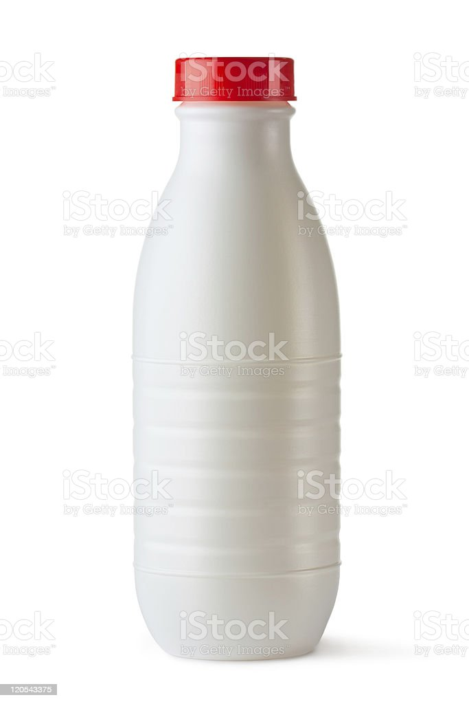 Plastic bottle with red lid for dairy foods royalty-free stock photo