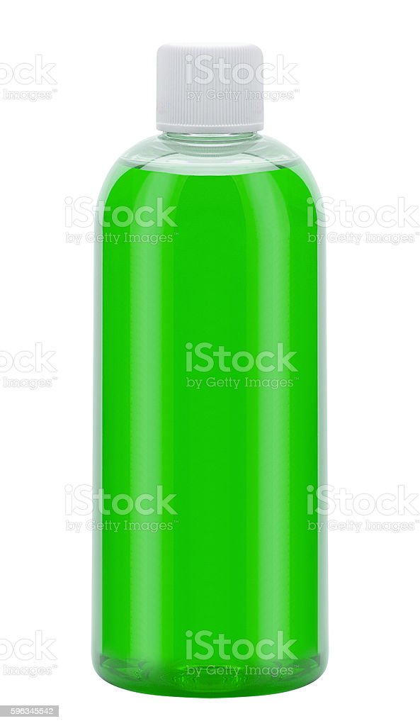 Plastic bottle with washing liquid, isolated on white Lizenzfreies stock-foto