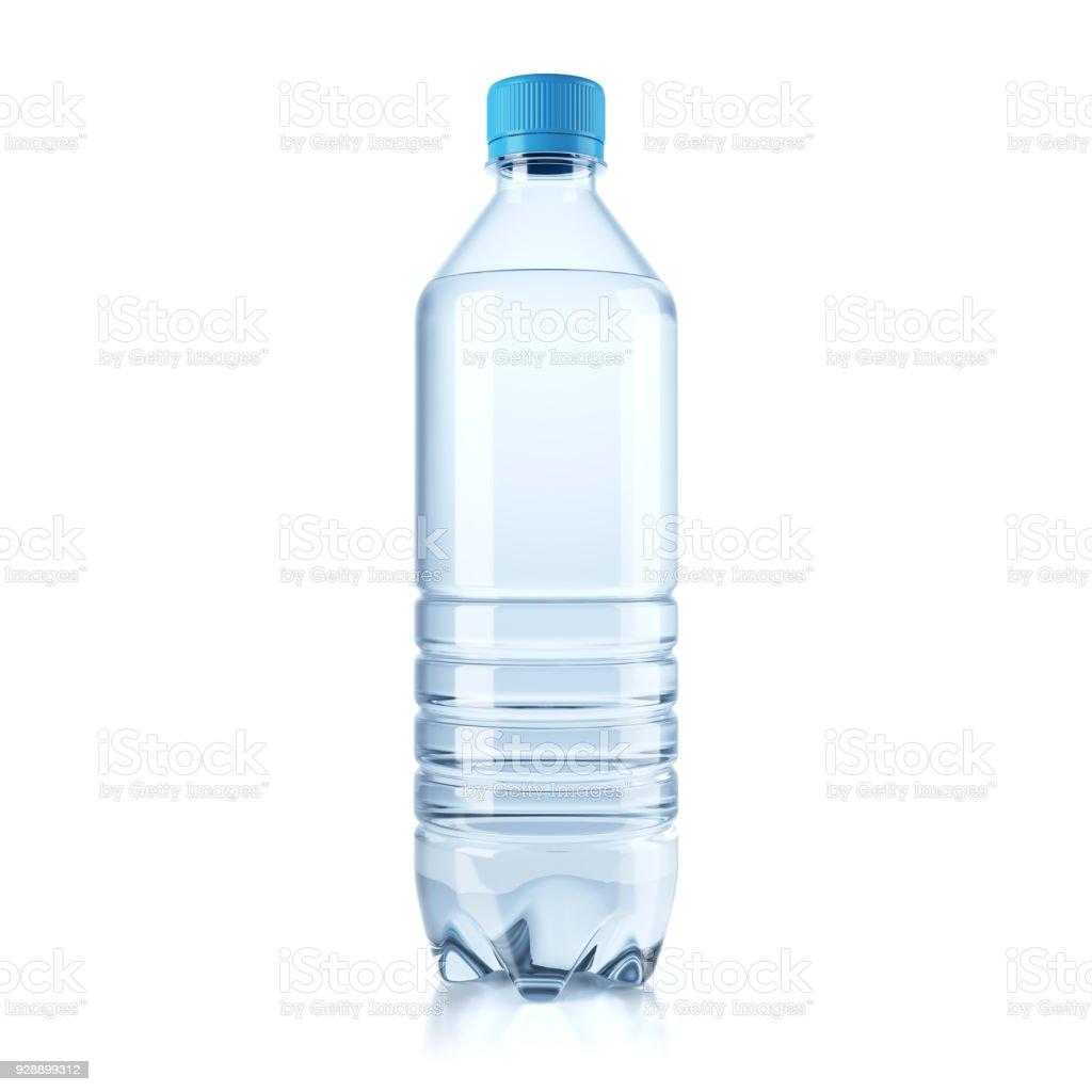 Plastic bottle with water isolated on white background. stock photo
