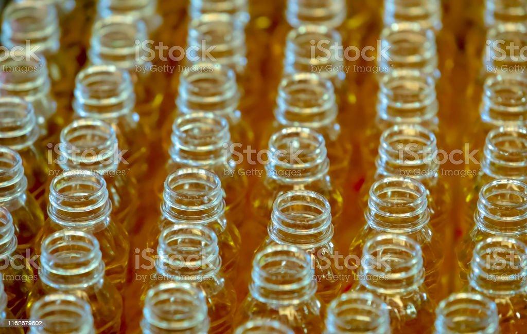plastic bottles and bottles neck ,selected focus