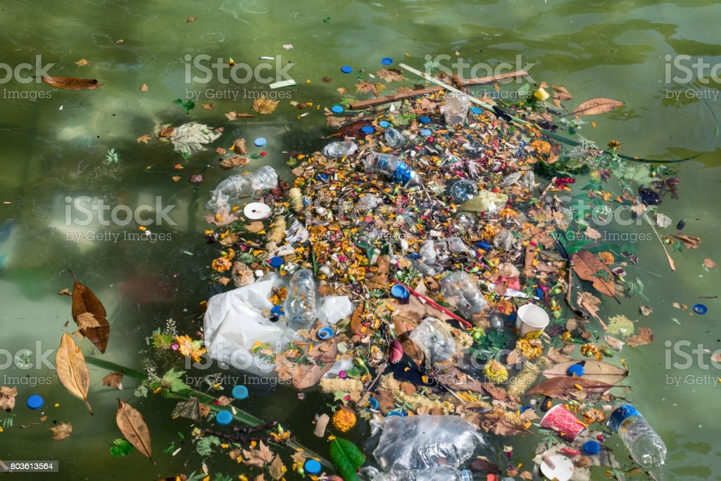 Plastic bottles and other pollutants floating on the surface, stock photo