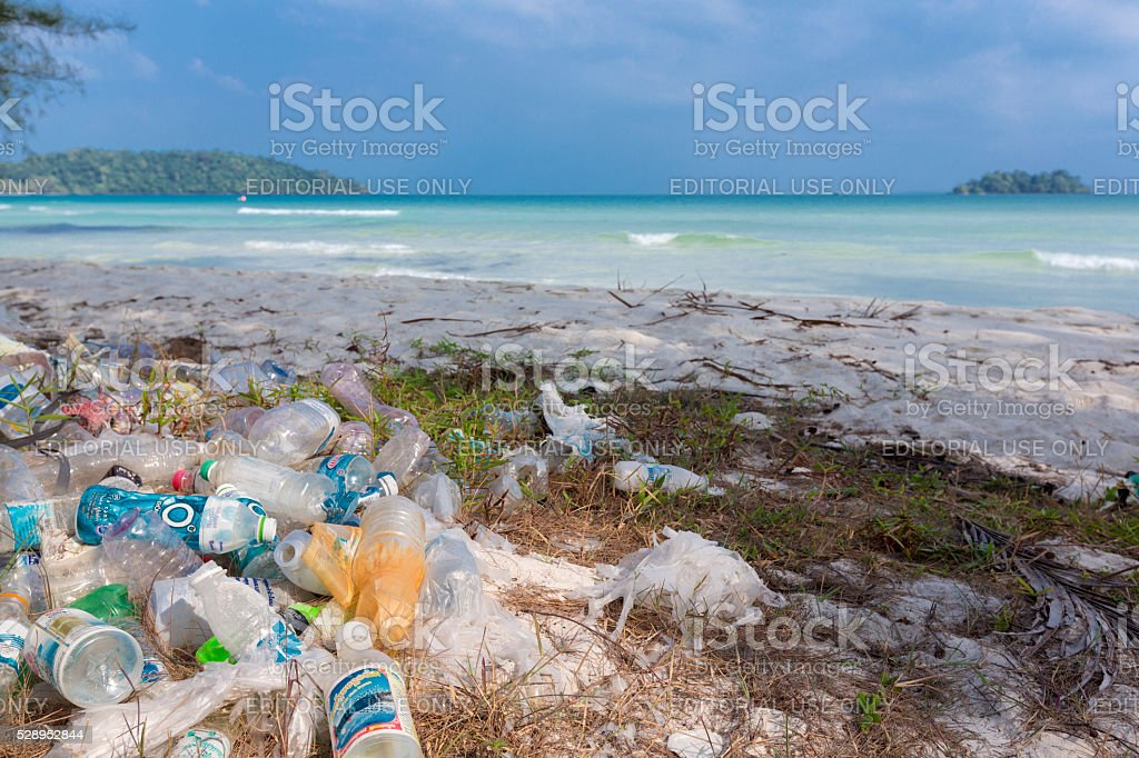 Plastic bottles, garbage and wastes on the beach, Koh Rong stock photo