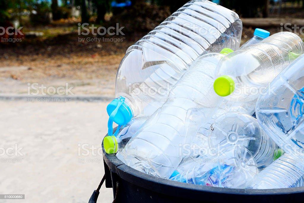 Plastic bottles garbage stock photo
