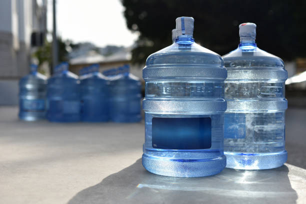 Plastic bottles of natural spring water stock photo