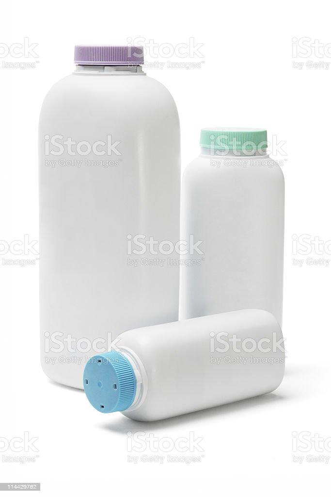 Plastic bottles of talcum powder royalty-free stock photo