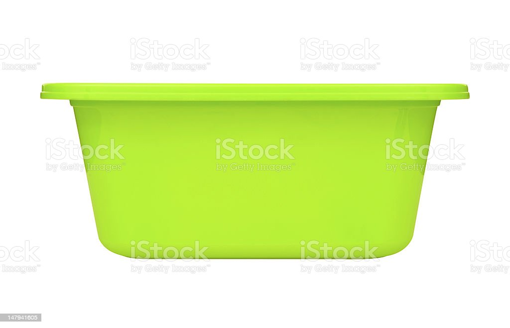 Plastic bowl side view. Clipping path included. stock photo