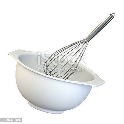 istock Plastic bowl with a whisk 3D 1259310186