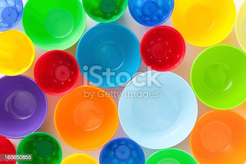 Top view of lots of plastic containers