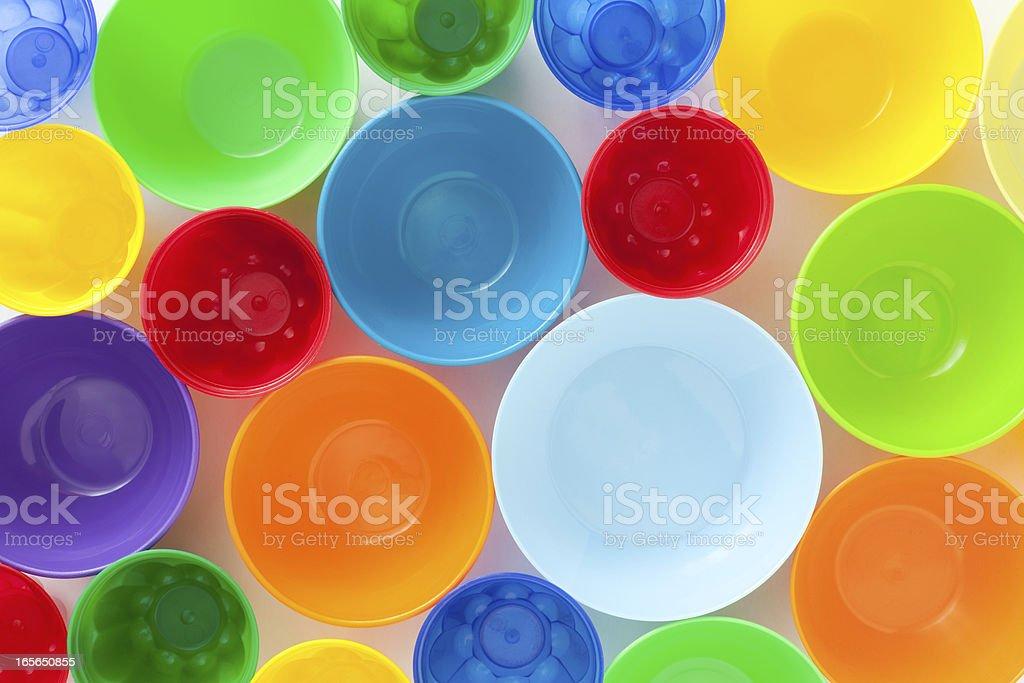Plastic bowls stock photo