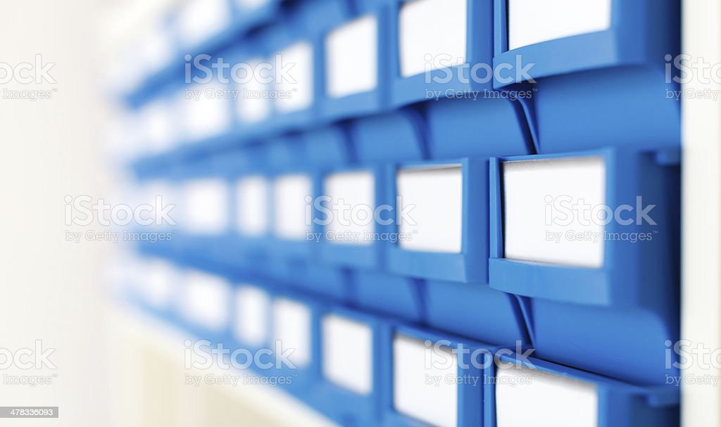 plastic boxes for components stock photo