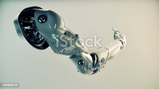 istock Plastic brawny cyber arm isolated on white 450908197