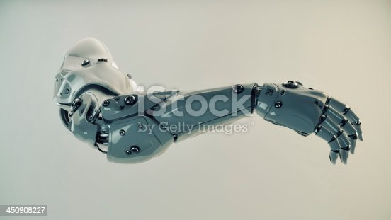 istock Plastic brawny cyber arm 450908227