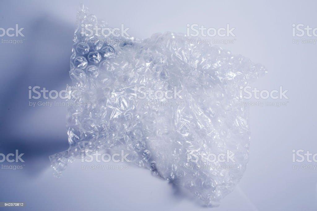 Plastic Bubble Cushioning Wrap isolated on white background stock photo