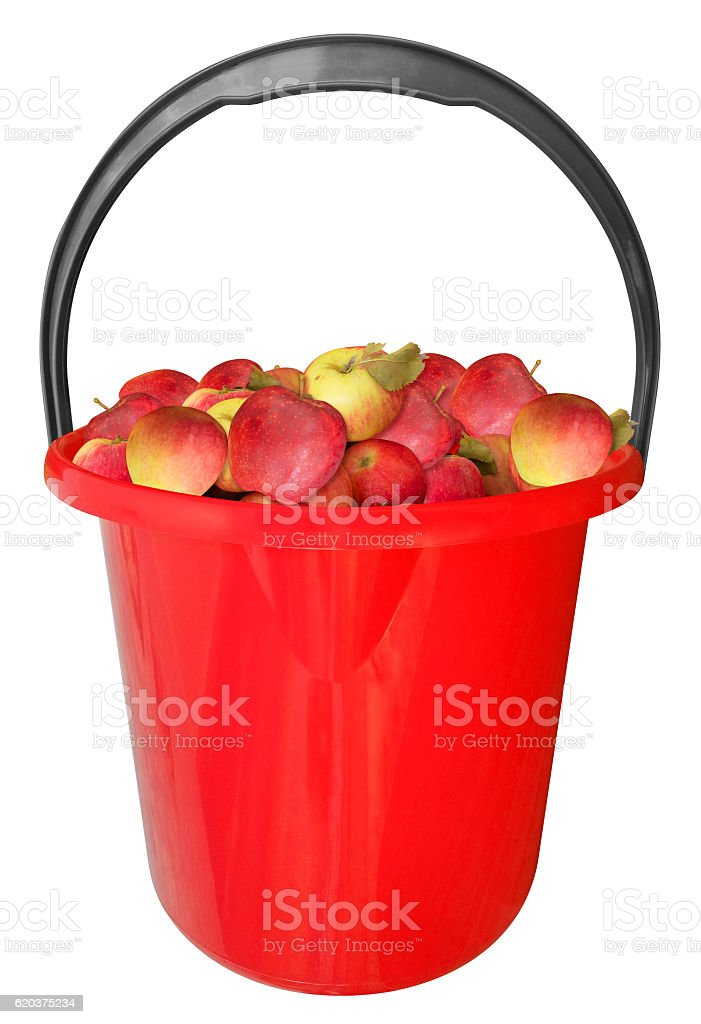 Plastic bucket with apples isolated - red zbiór zdjęć royalty-free
