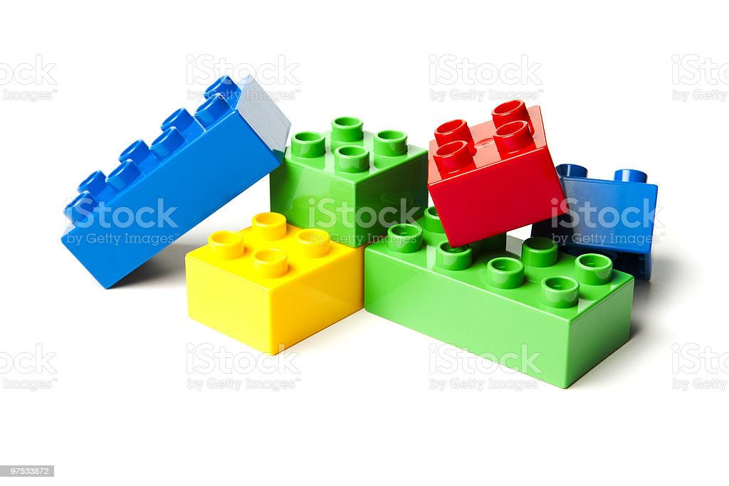 Plastic Building Blocks Isolated on White royalty-free stock photo