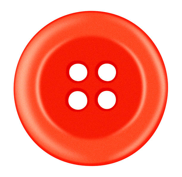 Plastic button isolated - red stock photo