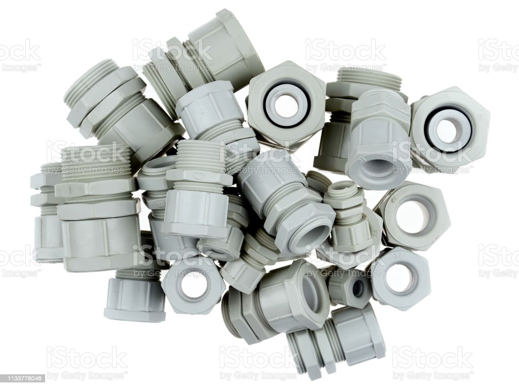 Plastic cable glands stock photo