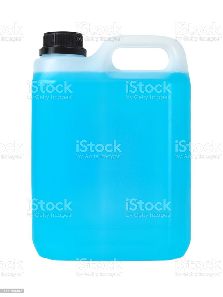 Plastic can with blue liquid stock photo