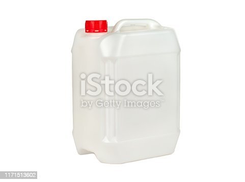 Empty plastic canister isolated on white background