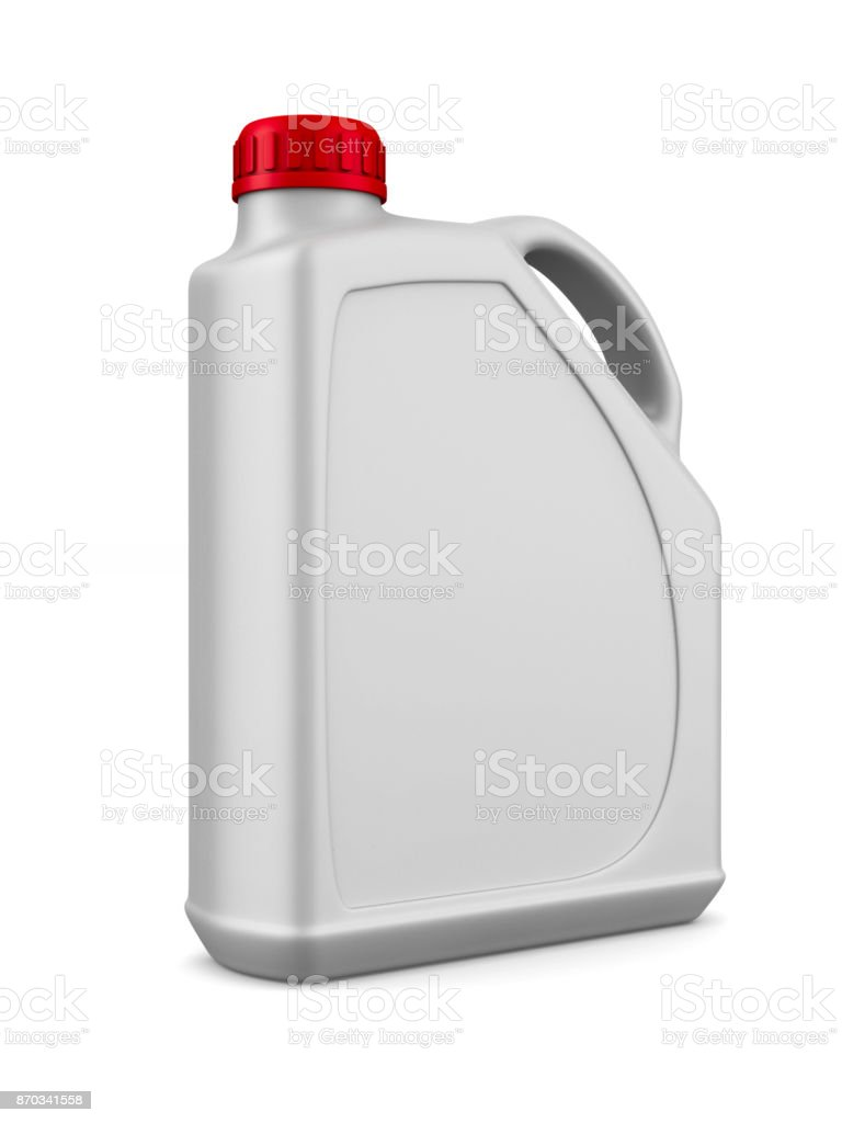 Kunststoff-Kanister Motoröl auf weißem Hintergrund. Isolierte 3D-Illustration – Foto