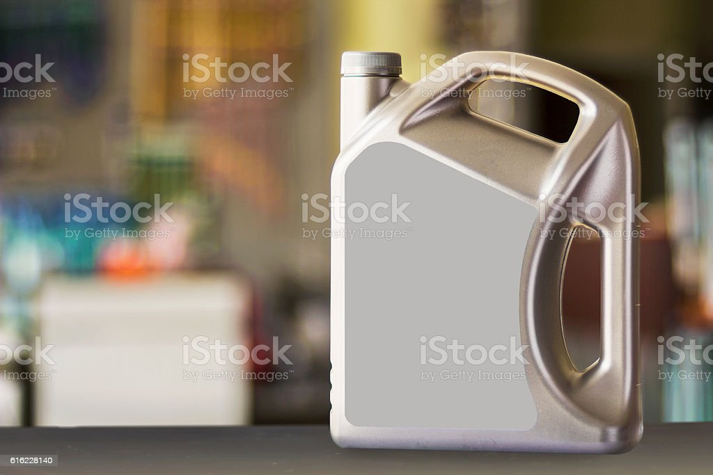 Plastic canister with blank  label stock photo