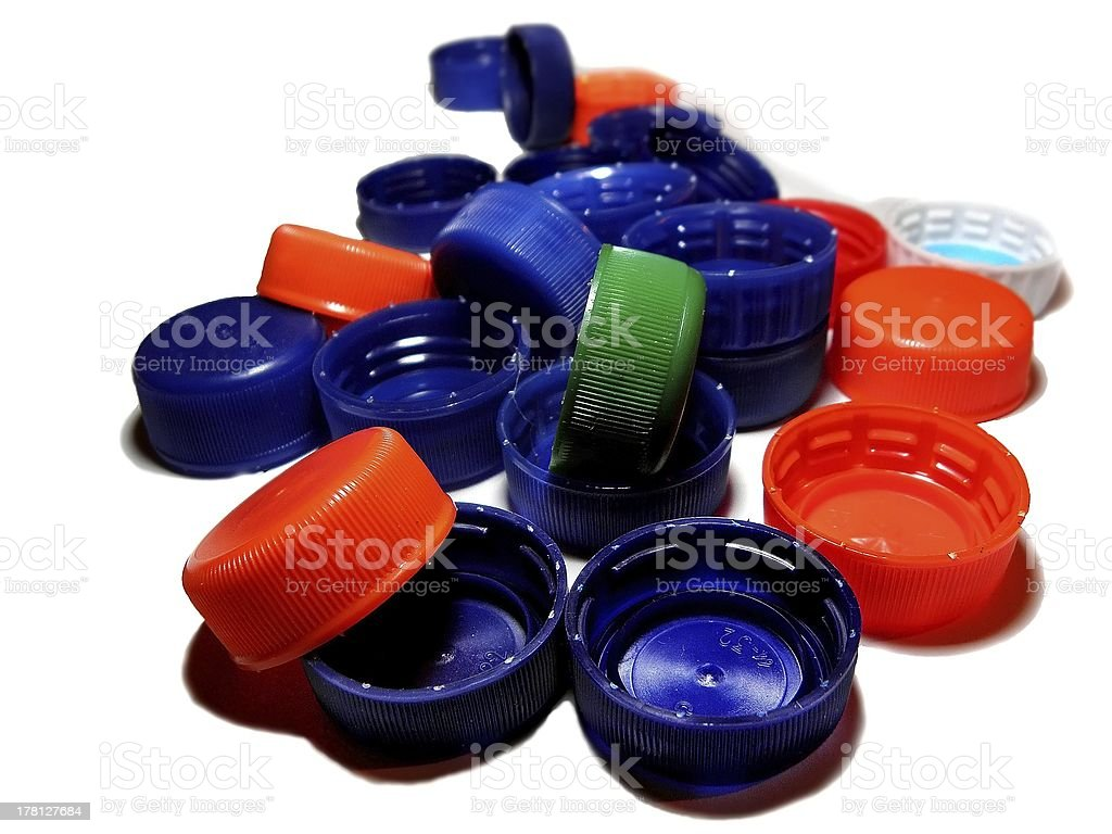 Plastic cap collection. royalty-free stock photo