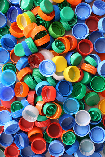 Top view of colorful plastic caps