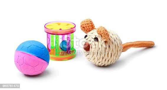 istock Plastic cat toys isolated 955781470