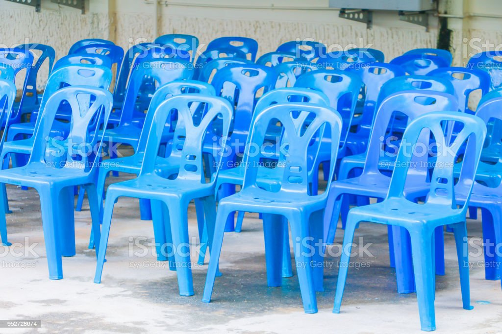 Plastic Chair Blue Empty In Conference Seminar Outdoor Stock