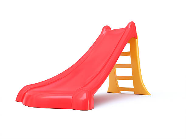 Plastic children's slide isolated on a white background stock photo